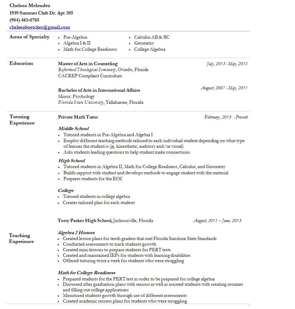 math tutor resume e tutor resume s tutor lewesmr math tutor math